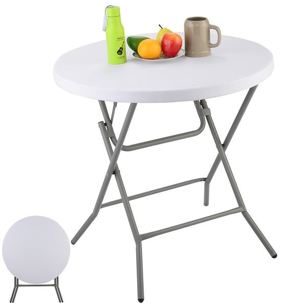 Costway 32\'\' Folding Round Table Furniture Home Office Outdoor ...