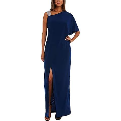 R&M Richards Womens Evening Dress Matte Jersey One Shoulder - Peacock - 8