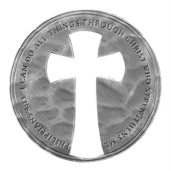 """1.75"""" Antique Silver and Gray Philippians 4:13 Verse Printed Christian Challenge Coin - N/A"""