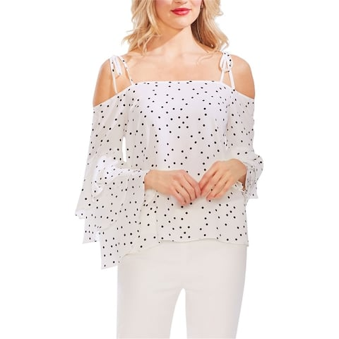 Vince Camuto Womens Tiered-Sleeve Cold Shoulder Blouse