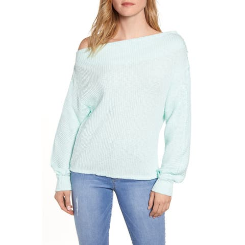 Gibson Women's Sweater Mint Green Size Large L Ribbed Knit Off-Shoulder