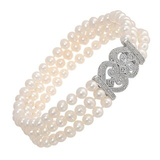 4.5-6.5 mm Freshwater Cultured Pearl & 1/6 ct Diamond Triple Strand Bracelet in Sterling Silver
