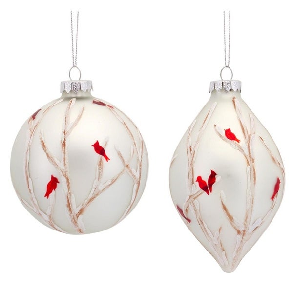 pack of 6 red cardinal and tree branch painted glass ball and drop christmas ornaments