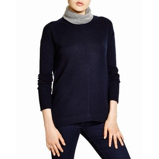 Magaschoni Womens Turtleneck Sweater Cashmere Colorblock
