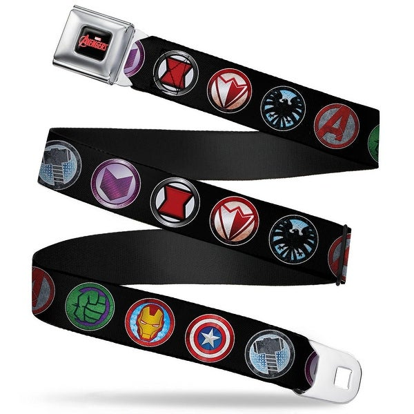 Marvel Avengers Marvel Avengers Logo Full Color Black Red White 9 Avenger Seatbelt Belt