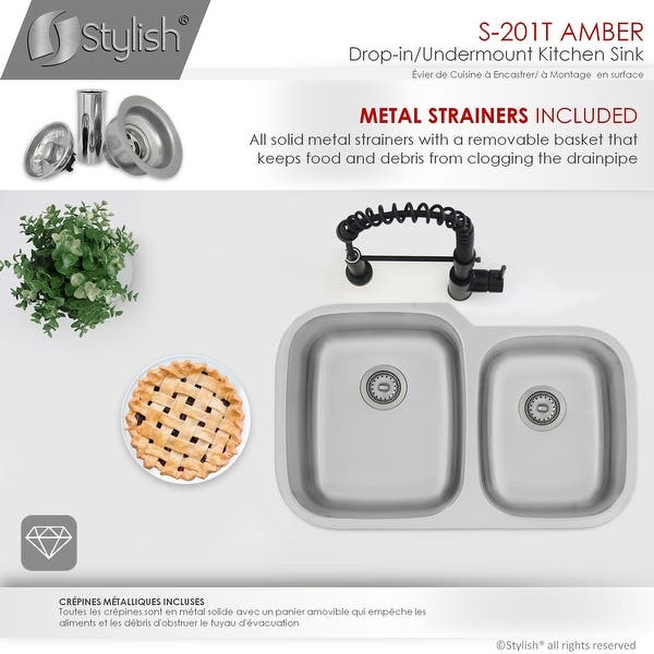 32 L X 20 75 W Stainless Steel Double Basin Dual Mount Kitchen Sink With Strainers On Sale Overstock 28045087