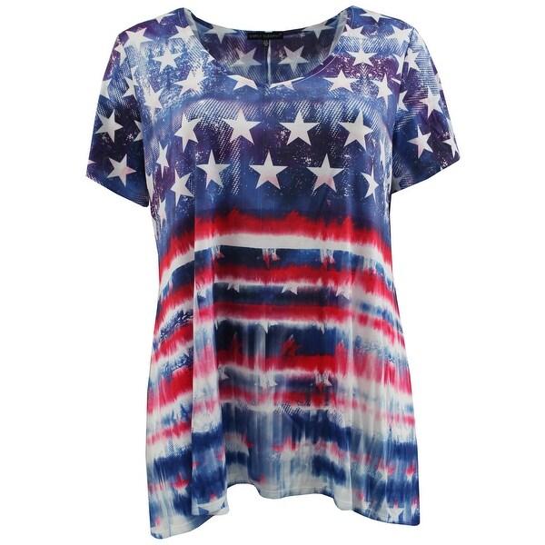 Shop Women Plus Size Short Sleeve American Flag Knit Top