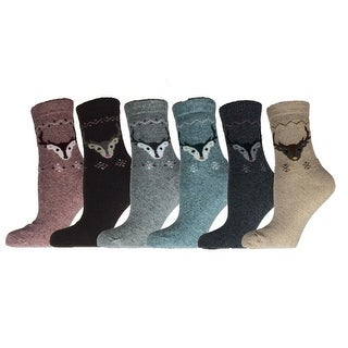 Women Socks Size 6-9 Wool Blend Warm Winter Crew Socks 6 Pairs
