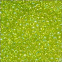 Toho Round Seed Beads 11/0 164 'Transparent Rainbow Lime Green' 8 Gram Tube