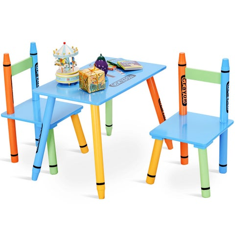 Gymax 3 Piece Crayon Kids Table & Chairs Set Wood Children Activity Playroom Furniture