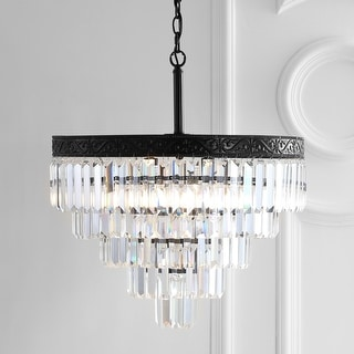 """Link to Wyatt 20"""" 4-Light Crystal LED Chandelier, Bronze/ Clear by JONATHAN  Y - Bronze Similar Items in Pendant Lights"""