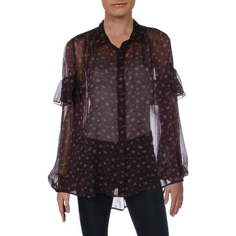 French Connection Womens Button-Down Top Sheer Floral - 10