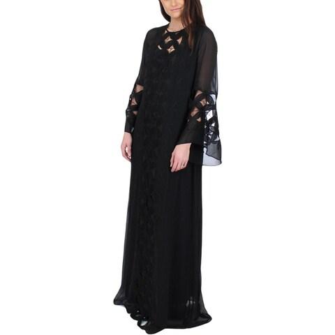 Juicy Couture Black Label Womens Caftan Dress Chiffon Lace Trim