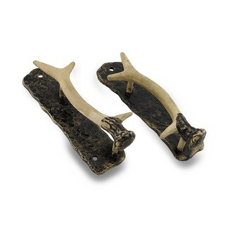 Decorative Metal Antler Handle Rustic Door Pull Set of 2