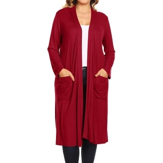 Link to Women's Solid Color Duster Long Sleeves Open Front Outerwear Cardigan Similar Items in Women's Plus-Size Clothing