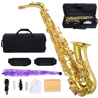 Costway Professional Eb Alto Sax Saxophone Paint Gold with Case and Accessories