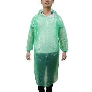 Green Clear One Size Disposable Hooded Pullover Raincoat Rain Poncho for Travel