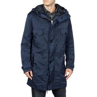 Diesel Willard Mens 3-in-1 Jacket X-Large Deep Midnight Blue Hooded Raincoat