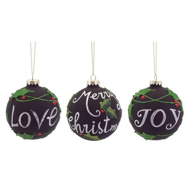 Pack of 6 Love, Joy and Merry Christmas Chalkboard Glass Ball Ornaments 4""