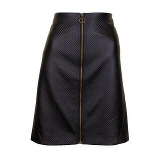 Rachel Rachel Roy Plus Size Black Textured Zip-Up Mini Skirt W
