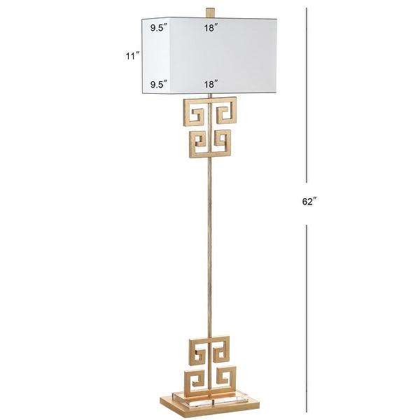 """SAFAVIEH Lighting 62-inch Sauna Antique Gold Metal Floor Lamp - 18""""x9.5""""x62"""""""