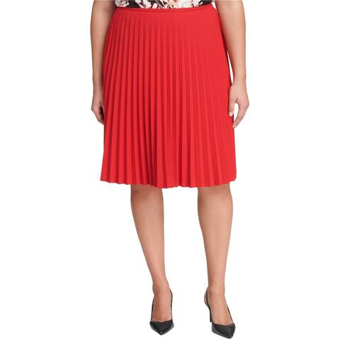 Calvin Klein Womens Pleated A-line Skirt, Red, 16W