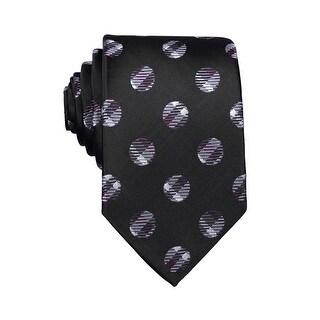 Nick Cannon Mens Polka Dot Classic Silk Tie Necktie Black and Purple