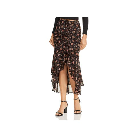 JOA Womens Midi Skirt Floral Print Cinched