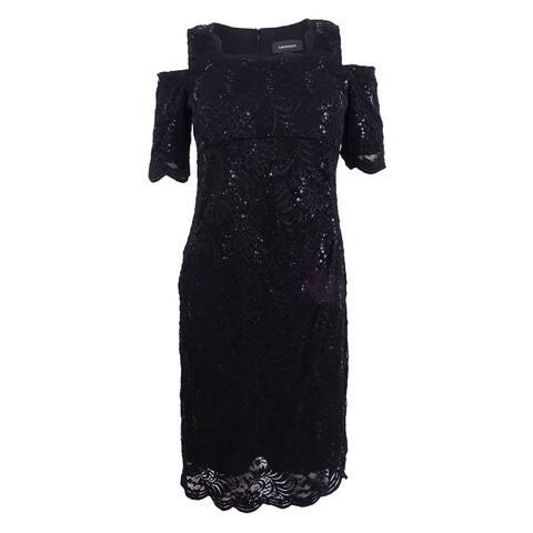 R&M Richards Women's Sequined Lace Cold-Shoulder Sheath Dress - Black