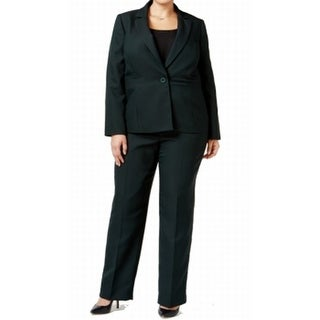 Le Suit NEW Green Pinstriped Career Women's 14W Plus Pant Suit Set