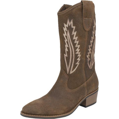 White Mountain Womens Caraway Cowboy, Western Boots Leather Block Heel