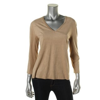 Studio M Womens Pullover Top Suede V-Neck