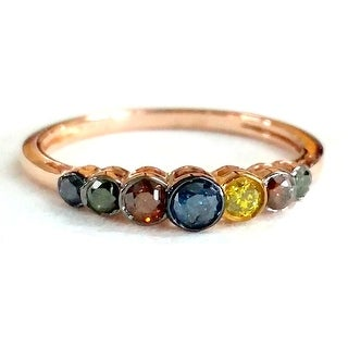 Brand New 0.25 Carat Round Brilliant Cut Multi Color Diamond Ring