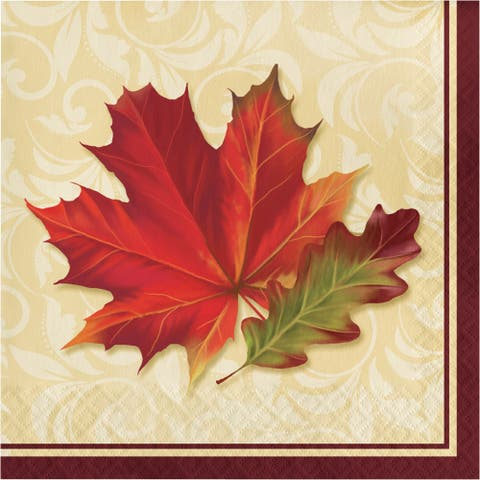 "Club Pack of 192 Beige and Red Fallen Leaves 2-Ply Luncheon Square Napkins 12.8"" - N/A"