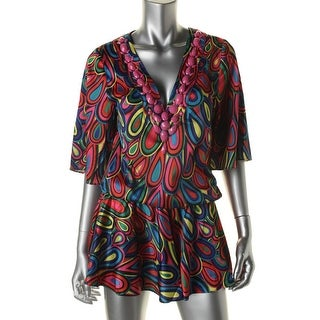 Rachel Lym Womens Tallia V-Neck Kimono Sleeves Dress Swim Cover-Up