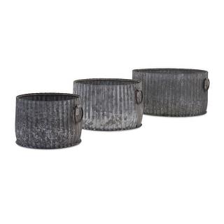 IMAX Home 84840-3  Maurer Three Piece Galvanized Iron Outdoor Planter Set - Gray