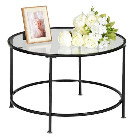 2 Layers Tempered Glass Countertops Round Iron Coffee Table Black