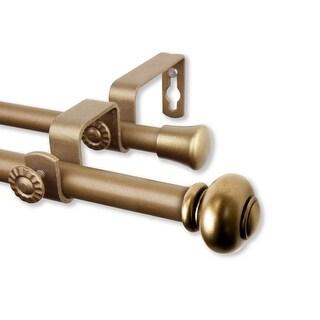"Rod Desyne Yolanda 5/8"" Steel Double Curtain Rod 48""-84"" - Antique Gold"