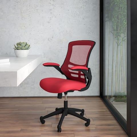 Mid-back Mesh Swivel Ergonomic Task Chair w/ Flip-up Arms