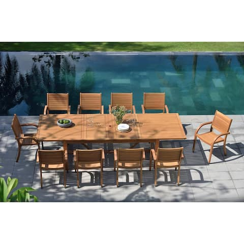 Life Style Garden 11 Piece Teak Finish Patio Dining Set
