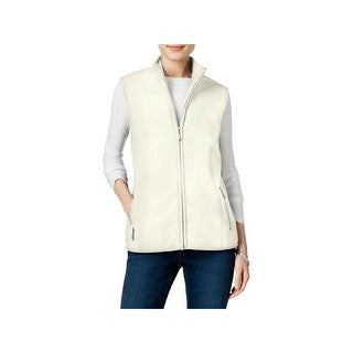 Karen Scott Womens Petites Outerwear Vest Fleece Zeroproof - pxl