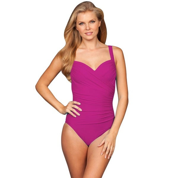 ed5e41cb307b5 Shop Miraclesuit Berry Sanibel D-Cup Underwire One Piece Swimsuit - Free  Shipping Today - Overstock - 17761614
