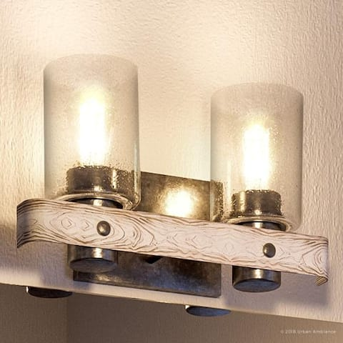 "Luxury Modern Farmhouse Bathroom Vanity Light, 8.5""H x 15.5""W, with Rustic Style, Galvanized Steel Finish by Urban Ambiance"