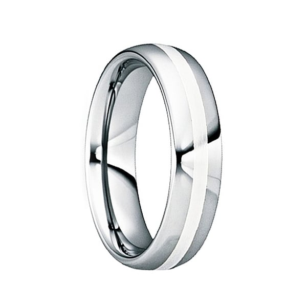 VALERIANUS Tungsten Carbide Wedding Ring with Silver Inlay & Polished Center by Crown Ring - 6mm