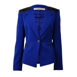 Tahari Women's Leather Trim Zipper Embellished Blazer