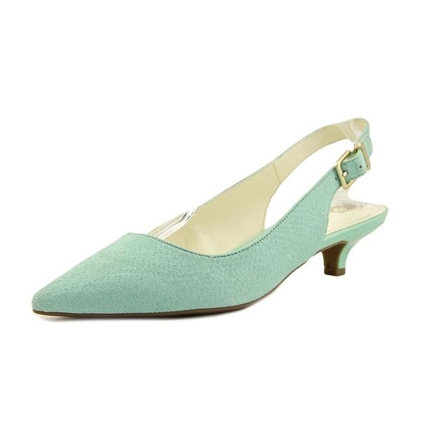 Anne Klein Expert Women Pointed Toe Leather Green Slingback Heel