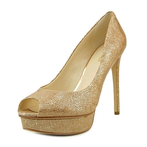 Nine West Edlyn Women Open Toe Leather Gold Platform Heel