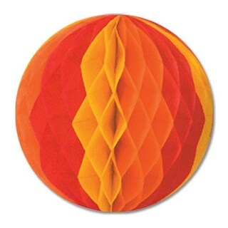 """Club Pack of 24 Orange, Red and Yellow Honeycomb Hanging Tissue Ball Decorations 12"""""""