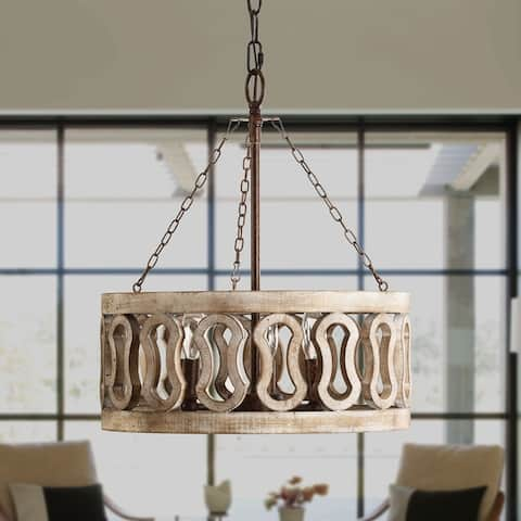 3-Light Drum Shade Wood Chandelier with 3 Chains, Rust Wood
