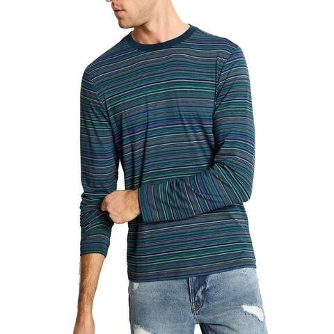 Guess Mens T-Shirts Pink Blue Size 2XL Crewneck Striped Jersey Stretch
